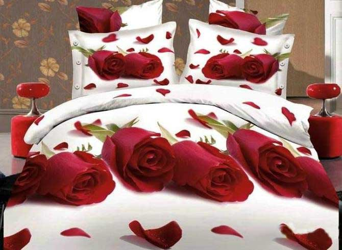 Red Roses and Scattered Petals Print 4-Piece Cotton Duvet Cover Sets