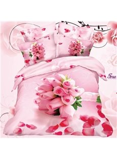 New Arrival Beautiful Pink Rose Bouquet Print 4 Piece Bedding Sets