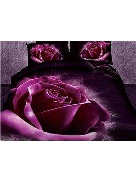New Arrival Stunning Purple Roses Print 4 Piece Bedding Sets
