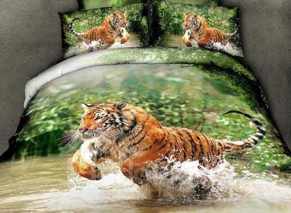 New Arrival Beautiful Tiger Jumping in Water Print 4 Piece Bedding Sets