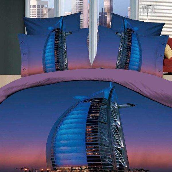 New Arrival Beautiful Burj Al Arab Hotel Print 4 Piece Bedding Sets