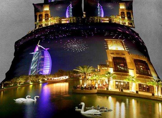 New Arrival Beautiful Burj Al Arab Hotel Across the River Night Scene 4 Piece Bedding Sets
