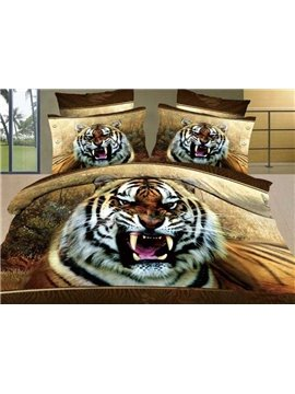 New Arrival Lifelike Scary Tiger Print 4 Piece Bedding Sets