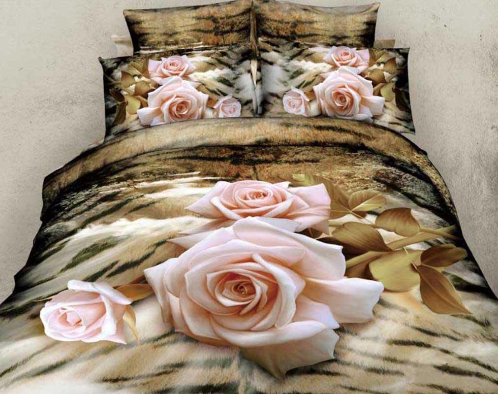 New Arrival Elegant Light Pink Rose Print 4 Piece Bedding Sets