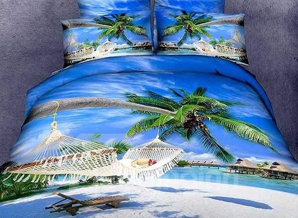 New Arrival Beautiful Sand Beach and Coconut Palm Print 4 Piece Bedding Sets