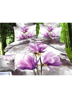 New Arrival Gorgeous Light Purple Flowers Print 4 Piece Bedding Sets