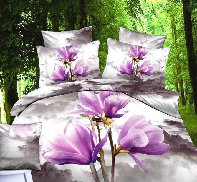 Gorgeous Light Purple Magnolia Print Cotton Duvet Cover Sets