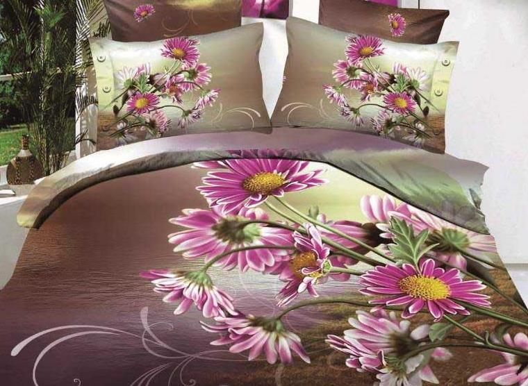 New Arrival Beautiful Purple Daisy Flowers Print 4 Piece Bedding Sets