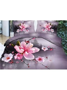 New Arrival Beautiful Pink Plum Blossoms Print 4 Piece Bedding Sets