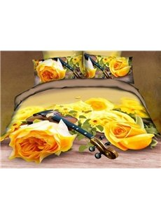 New Arrival Beautiful Yellow Roses and Violin Print 4 Piece Bedding Sets