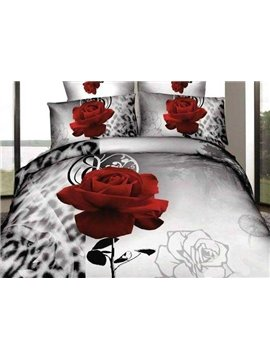 New Arrival Oil-painting Style Beautiful Red Rose and Print 4 Piece Bedding Sets