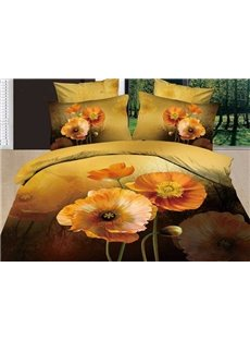 New Arrival Lovely Yellow Flowers Print 4 Piece Bedding Sets