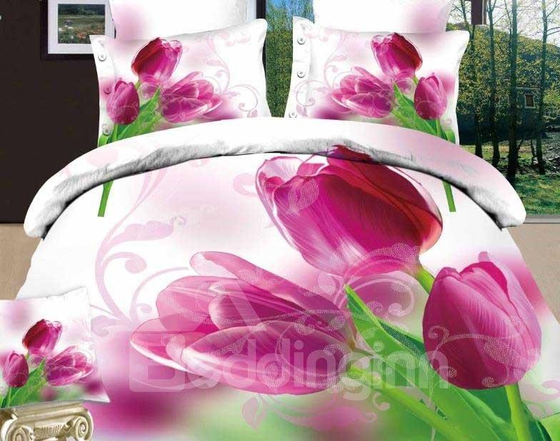 New Arrival Beautiful Purple Tulips Print 4 Piece Bedding Sets