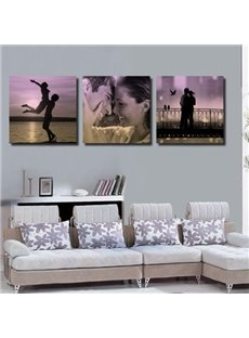 New Arrival Beautiful Happy Couples Print 3-piece Cross Film Black Wall Art Prints