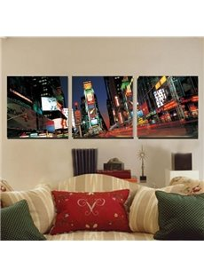 New Arrival Beautiful City Night Scenery Print 3-piece Cross Film Black Wall Art Prints