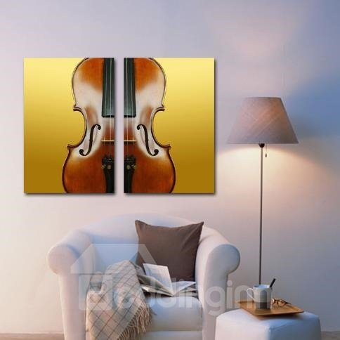New Arrival Elegant Violin Print 2-piece Cross Film Wall Art Prints