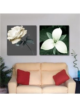 New Arrival Beautiful White Flowers Print 2-piece Cross Film Wall Art Prints