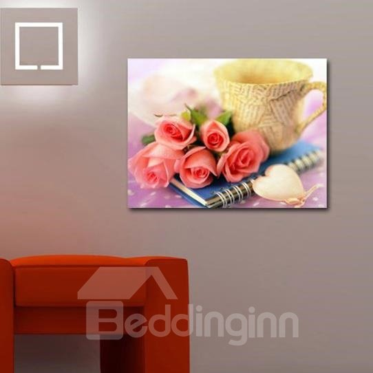 New Arrival Lovely Roses and Cup Print Cross Film Wall Art Prints 10875106