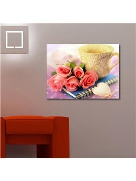 New Arrival Lovely Roses and Cup Print Cross Film Wall Art Prints