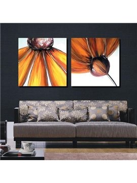 New Arrival Oil-painting Style Lovely Yellow Flower Print 2-piece Cross Film Wall Art Prints
