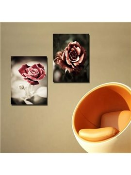 New Arrival Lovely Dark Red Roses Print 2-piece Cross Film Wall Art Prints