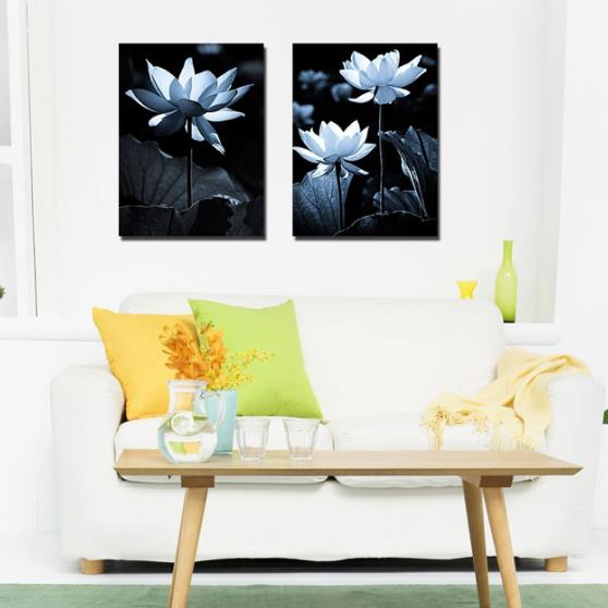 New Arrival Elegant White Lotus Flowers Print 2-piece Cross Film Wall Art Prints 10875163