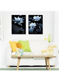 New Arrival Elegant White Lotus Flowers Print 2-piece Cross Film Wall Art Prints