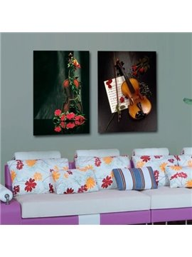 New Arrival Beautiful Violin Twined by Red Flowers Print 2-piece Cross Film Wall Art Prints
