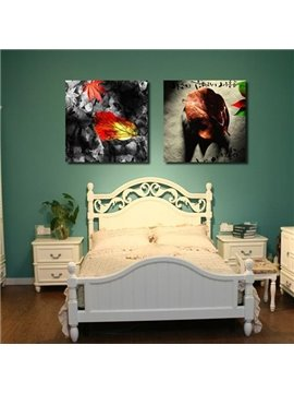 New Arrival Beautiful Leaves Print 2-piece Cross Film Wall Art Prints