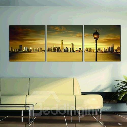 New Arrival Beautiful City Across the River Print 3-piece Cross Film Wall Art Prints