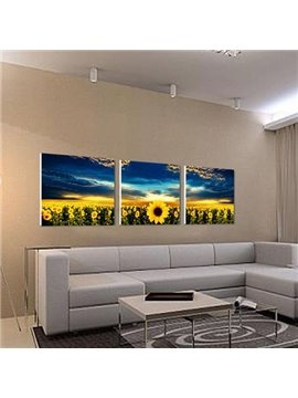 New Arrival Beautiful Sunflowers and Blue Sky Print 3-piece Cross Film Wall Art Prints
