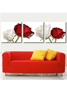 new arrival beautiful white and red roses print 3 piece cross film wall art prints