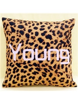 New Arrival Beautiful Sexy Leopard and Letters Print Throw Pillowcase