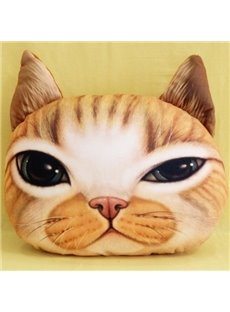 New Arrival Lovely Yellow Cat Squinting Print Throw Pillow