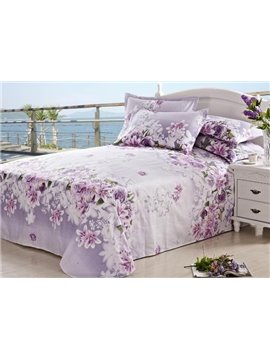 New Arrival Beautiful Light Purple Roses and Lilies Print Sheet
