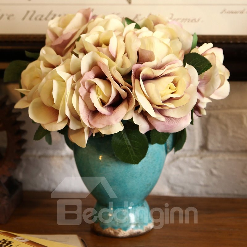 New Arrival Beautiful Rose Blossoms Style Decorative Artificial Flower Set