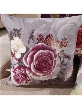New Arrival Elegant Light Purple Rose Print Throw Pillowcase