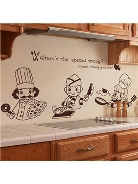 Cute Chefs and Letters Print Wall Sticker