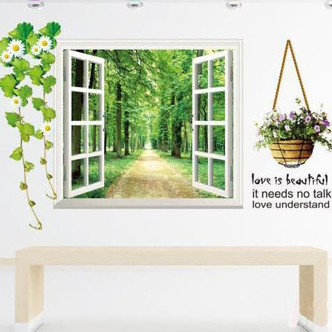 Beautiful Shadowed Lane and Butterfly Window Scenery Print Wall Stickers