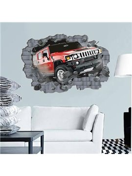New Arrival Shocking Car Running Out of the Wall Print Wall Stickers