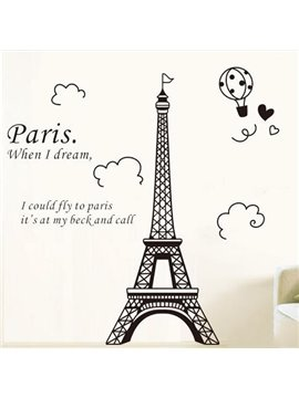 Beautiful Black Paris Eiffel Tower Print Wall Stickers