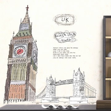 New Arrival Lovely Big Ben Tower Print Wall Stickers