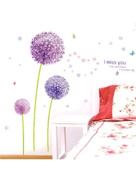 Beautiful Purple Dandelion Print and Photo Frame Wall Stickers