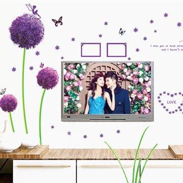 Beautiful Purple Dandelion Print and Photo Frame Wall Stickers
