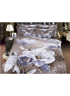 New Arrival Beautiful White Flowers Print 4 Piece Bedding Sets