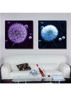 New Arrival Beautiful Purple and Blue Dandelion Print 2-piece Cross Film Wall Art Prints