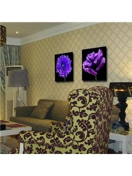 New Arrival Luxurious Purple Flowers Print 2-piece Cross Film Wall Art Prints