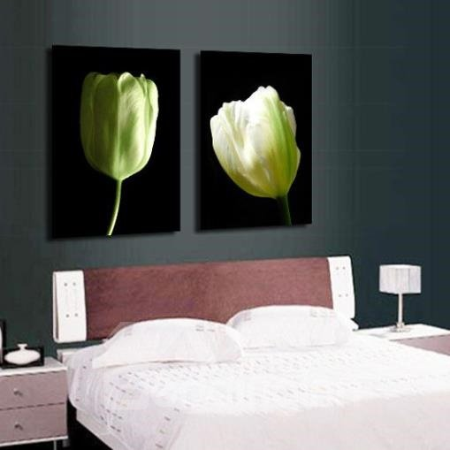 New Arrival Elegant Tulips Print 2-piece Cross Film Wall Art Prints