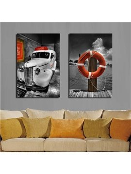 New Arrival Cool Car and Dock Print 2-piece Cross Film Wall Art Prints