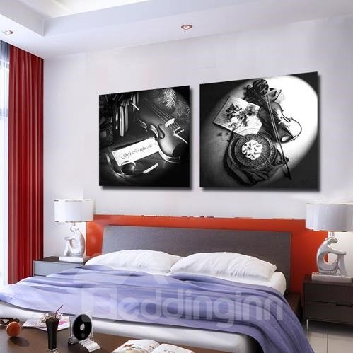 New Arrival Graceful Violins on the Table Print 2-piece Cross Film Wall Art Prints